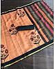 Peach soft chanderi digital printed zari border work saree