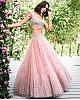 Peach soft net sequence work wedding lehenga choli