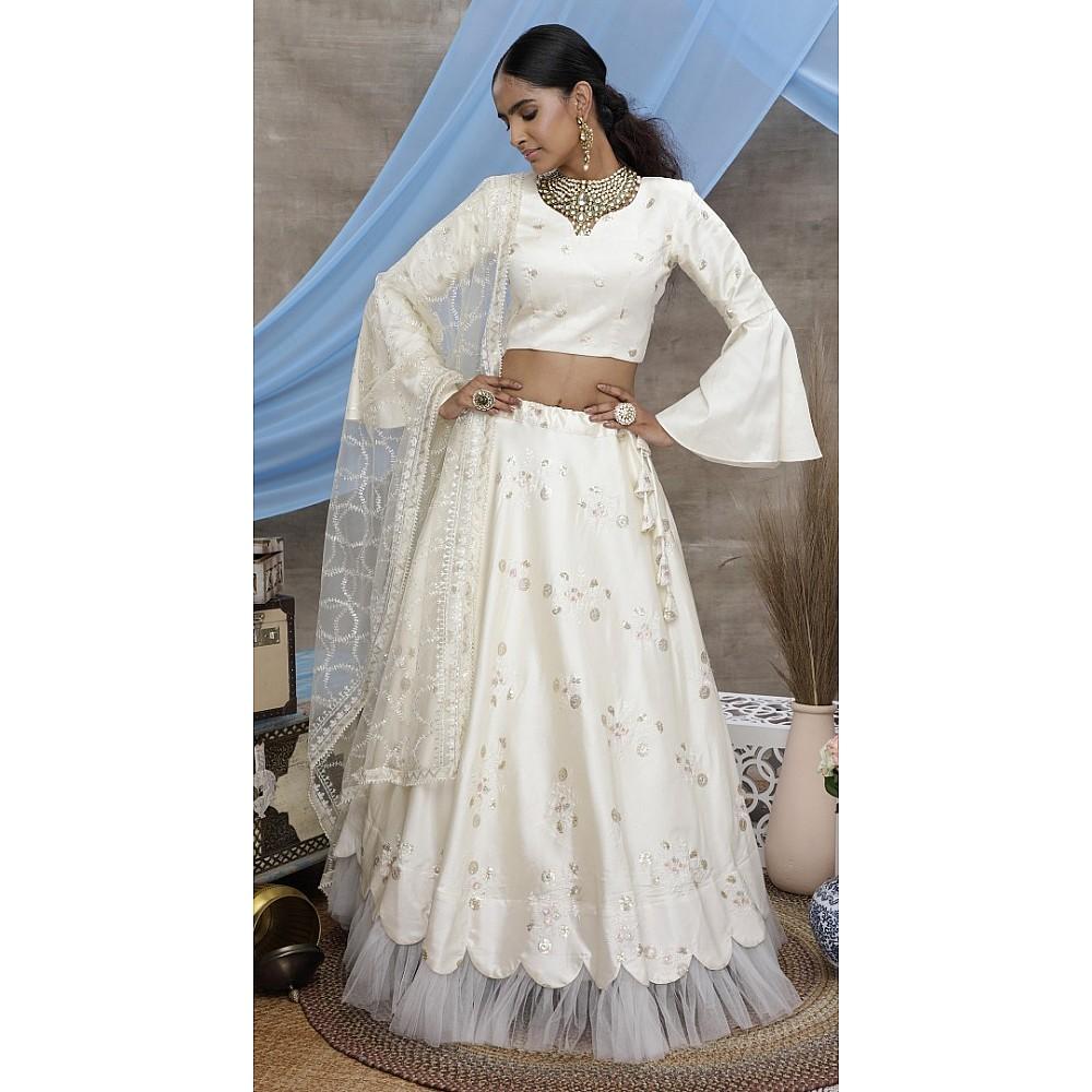 Pearl white silk art embroidered party wear lehenga choli