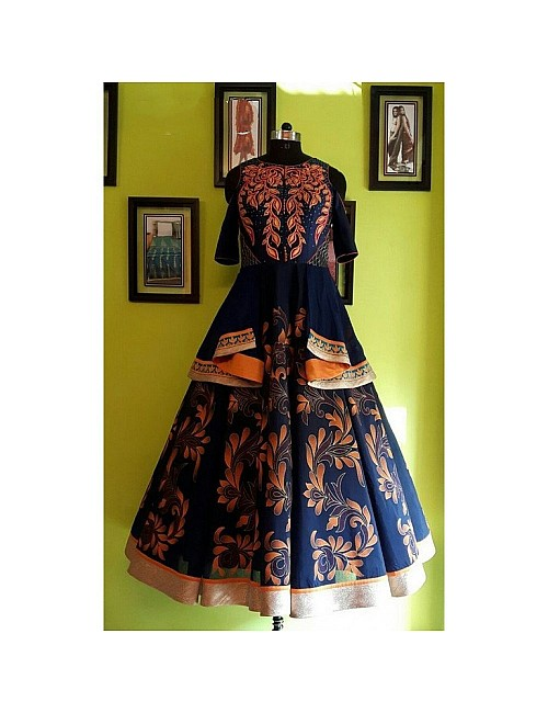 Pinalika designed blue printed party wear fabulous Gown