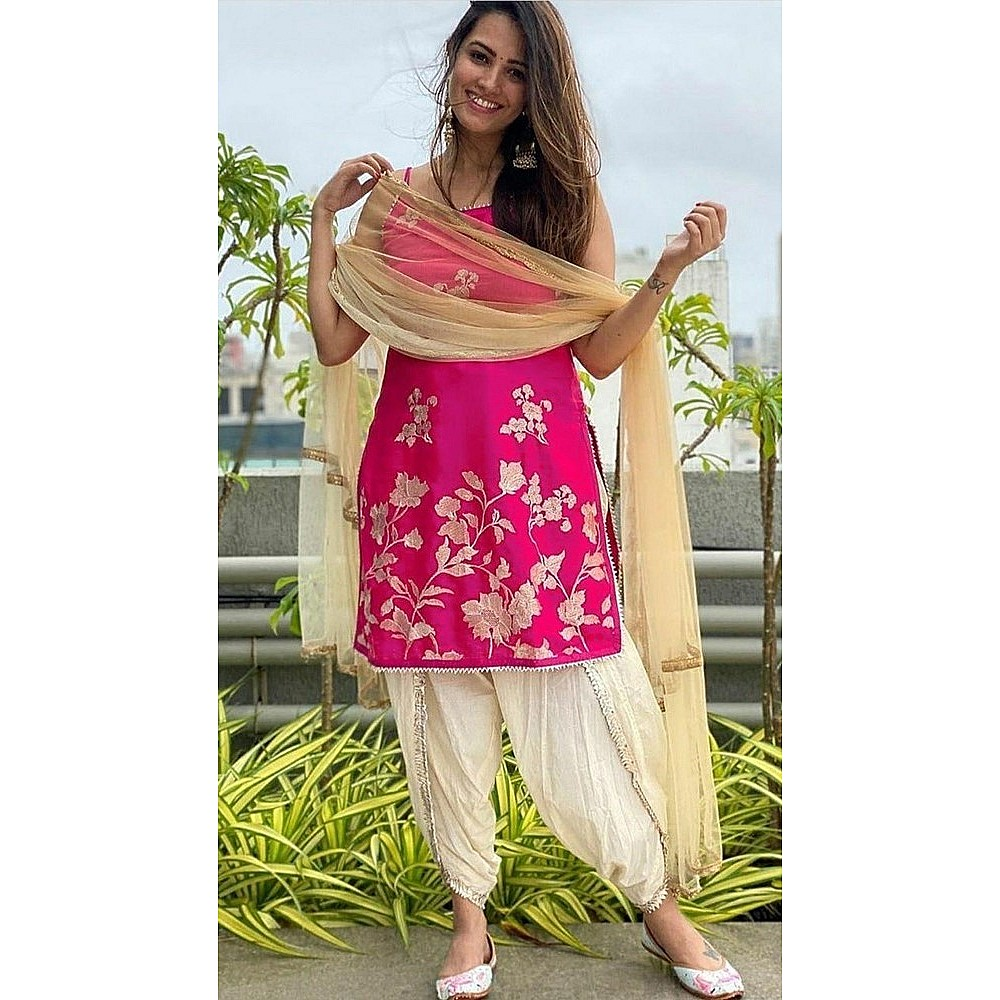 Pink and cream embroidered dhoti salwar suit