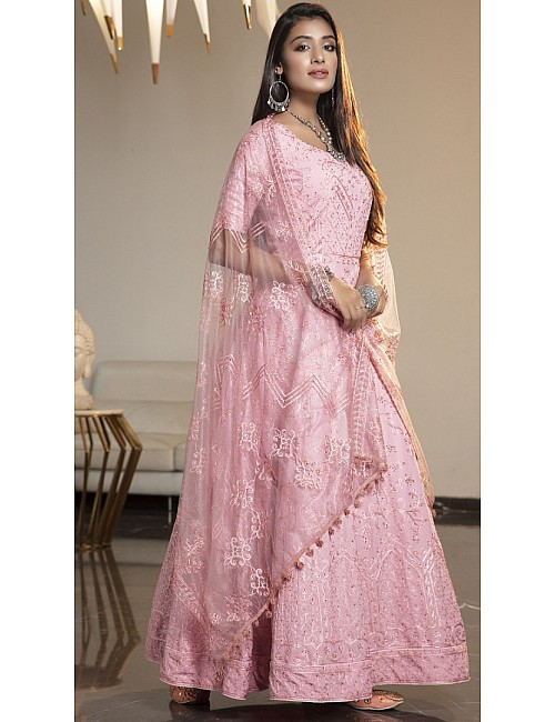 Pink diamond georgette embroidered anarkali gown