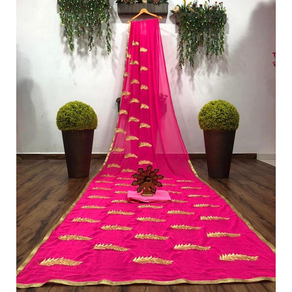 Pink georgette embroidery work saree