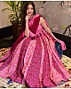 Pink heavy butter silk digital printed work partywear gown