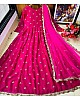 Pink heavy georgette with embroidered work party wear gown