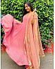 Pink heavy georgette zari embroidered work party wear gown