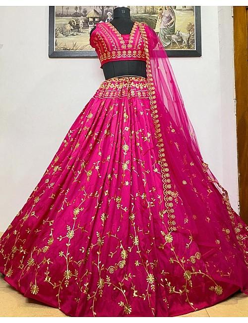 Pink heavy taffeta silk embroidered work party wear lehenga choli