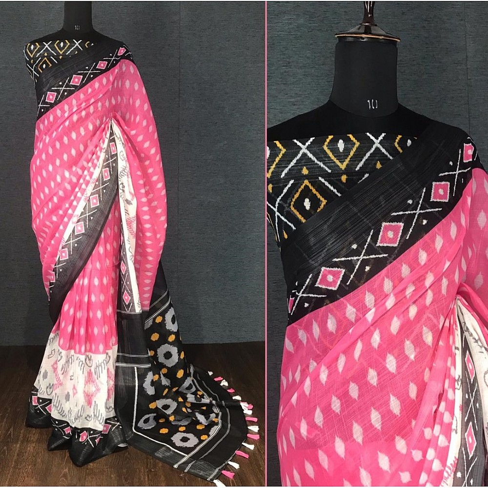 Pink linen digital print with cotton tussles work saree