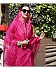 Pink organza silk digital printed work fancy saree