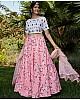 Pink silk crepe flower printed party wear lehenga choli