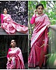 Pink silk zari weaving ceremonial saree