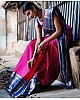 Pink soft lichi silk jacquard weaving work occasional saree