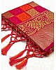 Pink soft lichi silk jacquard weaving work wedding saree