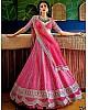 Pink taffeta silk heavy embroidered work ceremonial lehenga choli