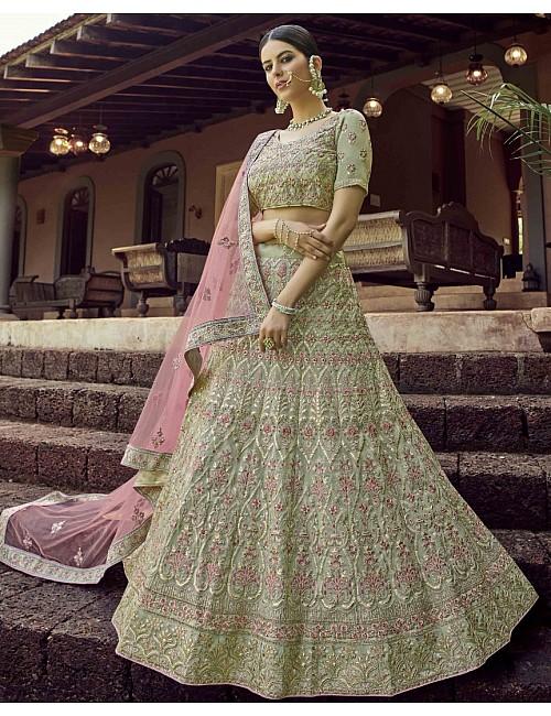 Pista green georgette resham work bridal lehenga choli