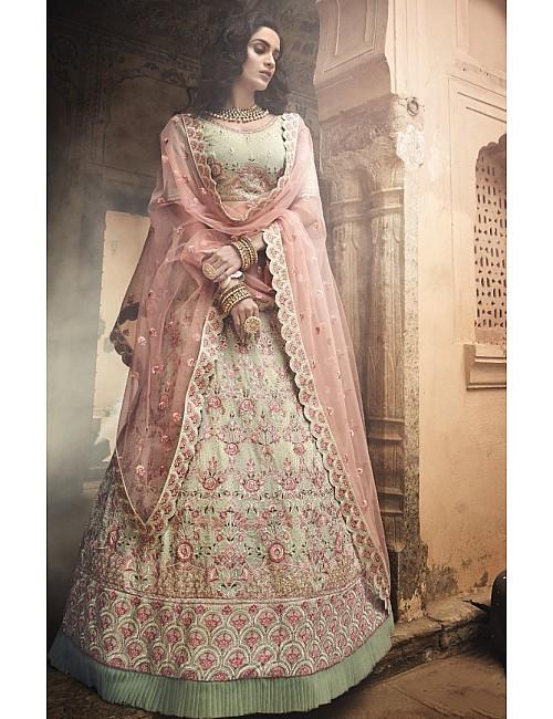 Pista green georgette zari and thread work bridal lehenga choli