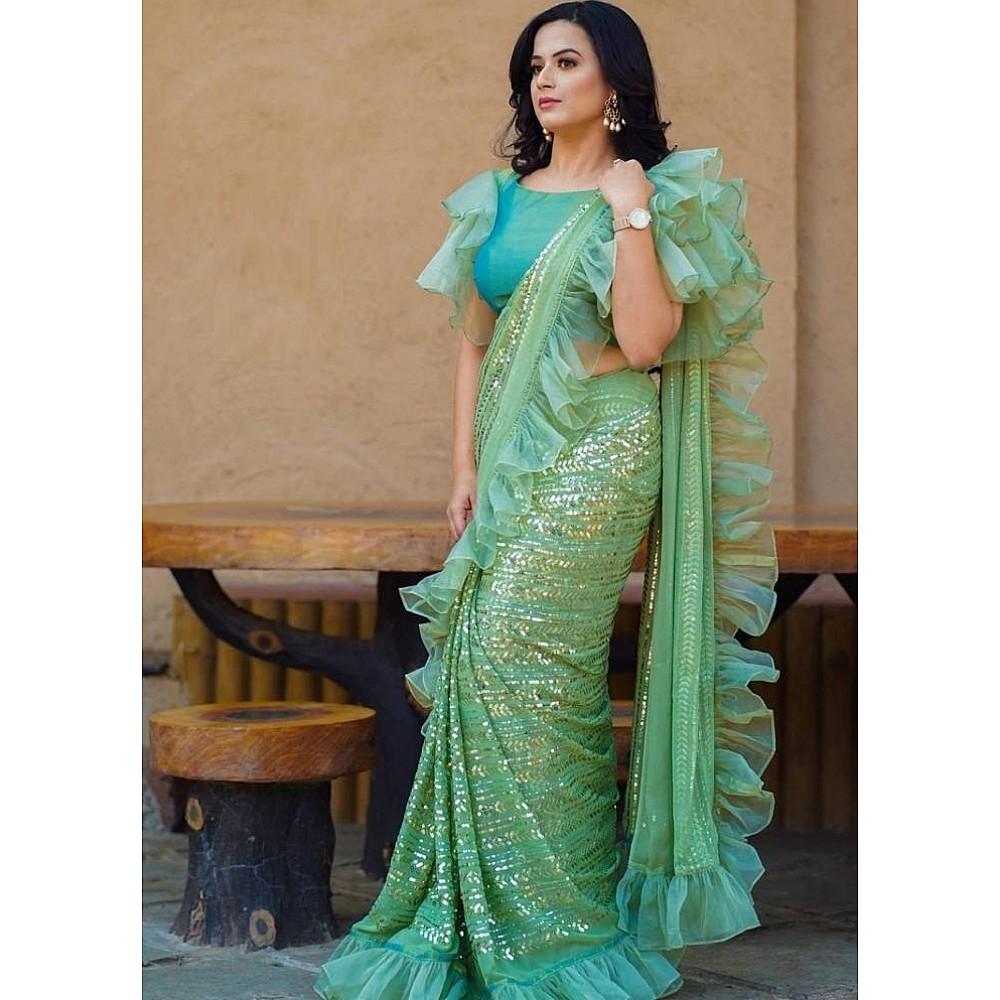 Pista green organza georgette sequence embroidered saree