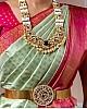 Pista green soft lichi silk jacquard weaving work ceremonial saree