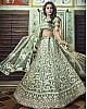 Pista green soft net thread and pearl work bridal lehenga choli