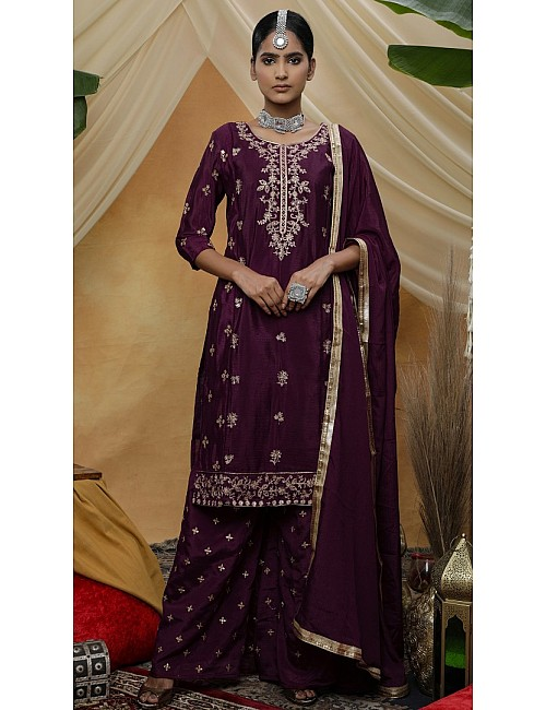 Purple chinon sequence embroidered plazzo suit