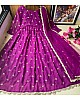Purple heavy georgette with embroidered work party wear gown