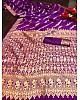 Purple lichi silk jacquard weaving work wedding saree