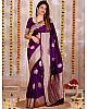 Purple lichi silk jacquard work wedding saree