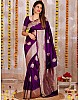 Purple soft lichi silk jacquard weaving work ceremonial saree