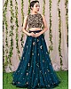 Rama net seuqence work wedding lehenga choli