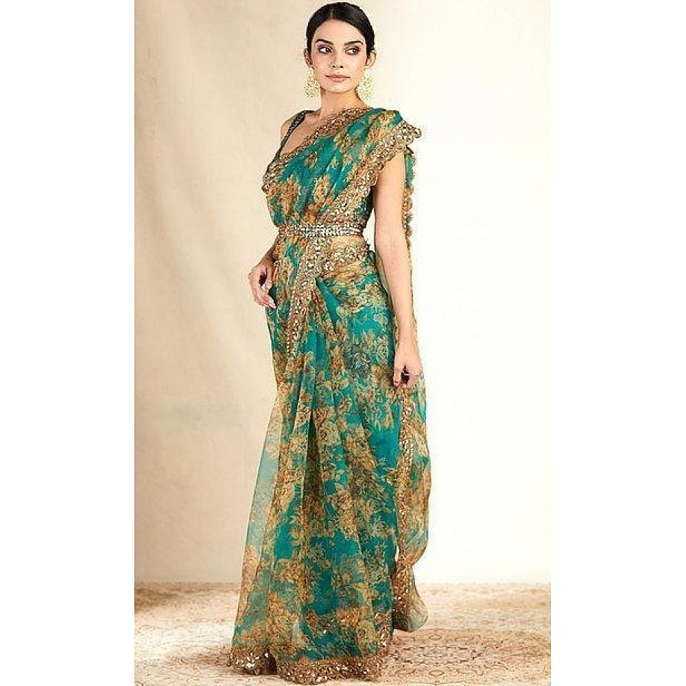 Rama organza sequence embroidered work party wear saree