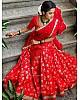 Red banarasi fancy embroidered jacquard wedding lehenga choli