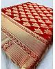 Red banarasi silk jacquard weaving work ceremonial saree