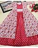 Red butter silk digital printed work lehenga choli with shrug