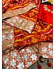 Red chanderi print and sequence foli paper work saree