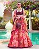 Red digital printed organza wedding lehenga choli