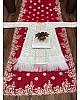 Red georgette embroidered silk saree with taffeta koti