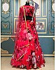 Red georgette flower printed lehenga choli