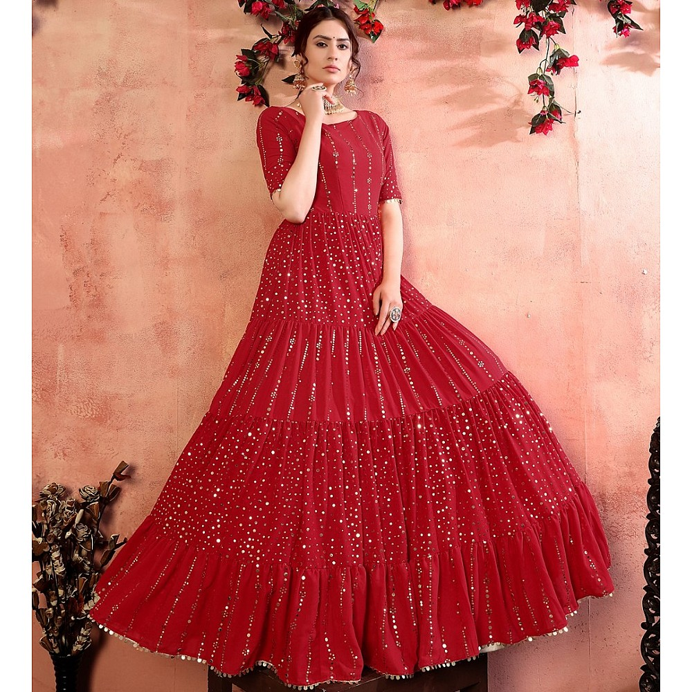 Red georgette golden sequence work party wear gown