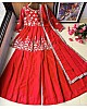 Red georgette zari embroidered work plazzo suit