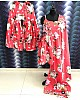 Red heavy american crepe digital printed work sharara suit