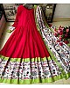 Red heavy georgette digital printed work gown with dupatta