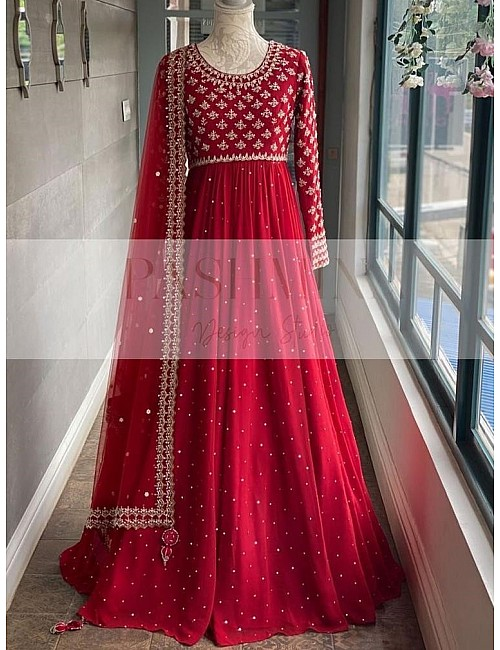 Red heavy georgette fully embroidered work designer gown