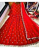 Red heavy georgette with embroidered work party wear gown