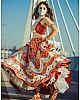 Red italian silk bandhani print lehenga choli