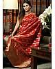 Red lichi silk jacquard weaving work wedding saree
