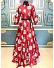 Red paper silk heavy digital printed gown