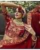 Red pure velvet Thread and zari work bridal heavy lehenga choli