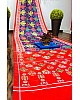 Red satin silk digital printed party wear saree