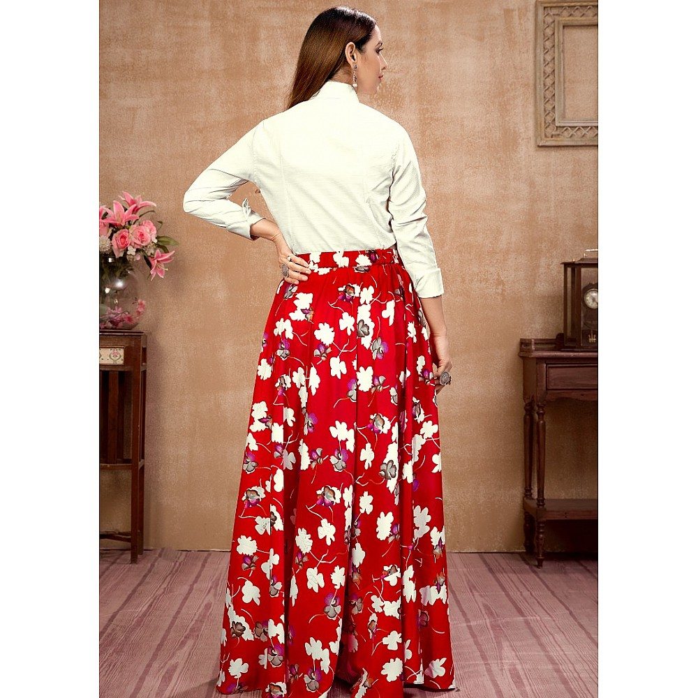 Red silk flower printed occasional wear crop top lehenga