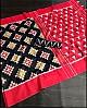 Red slub linen cotton digital printed work saree